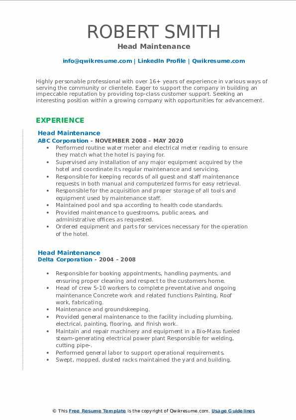 head maintenance resume samples  qwikresume