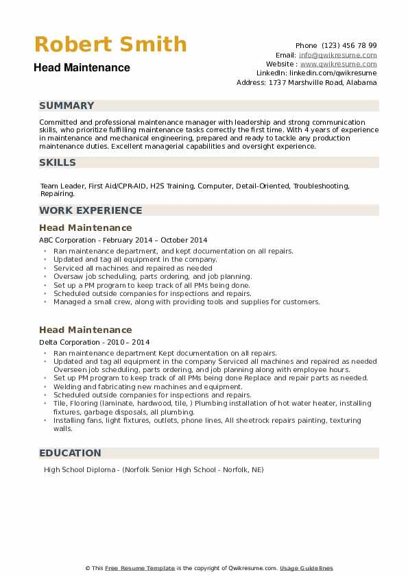 Head Maintenance Resume example