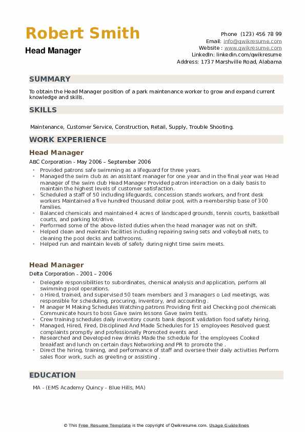 Head Manager Resume example