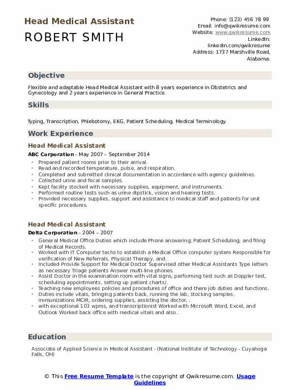 head medical assistant resume samples  qwikresume