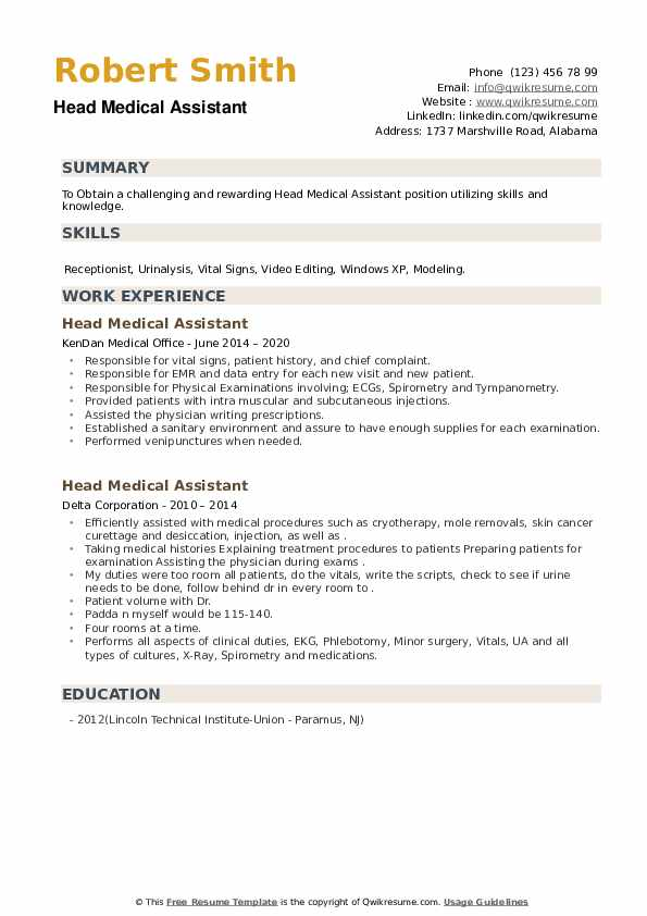 Head Medical Assistant Resume example