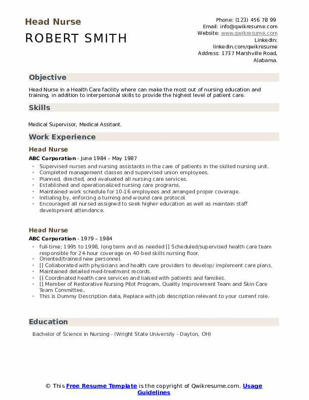 Head Nurse Resume example