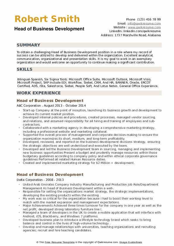 Head of Business Development Resume example