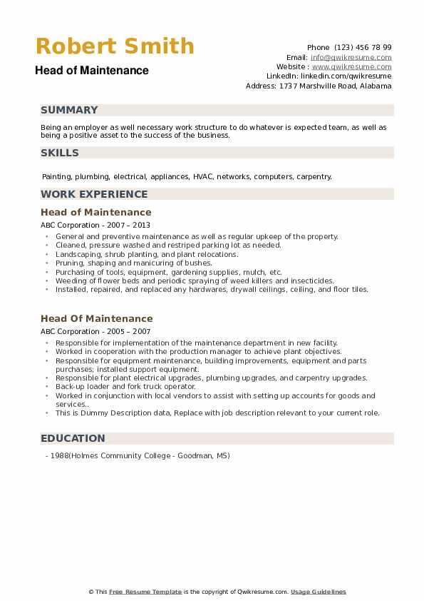 Head Of Maintenance Resume example