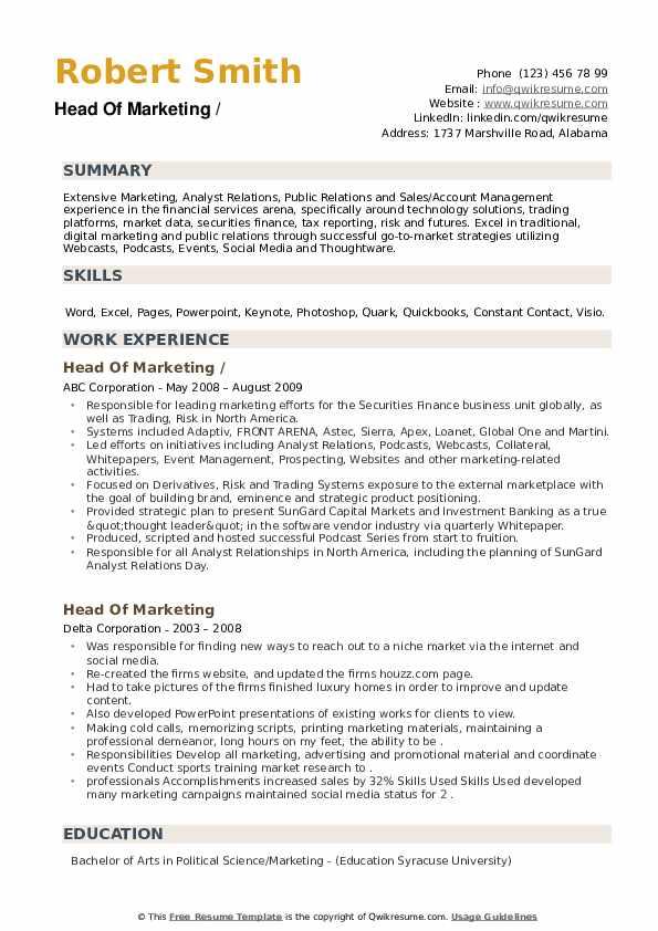 Head Of Marketing Resume example