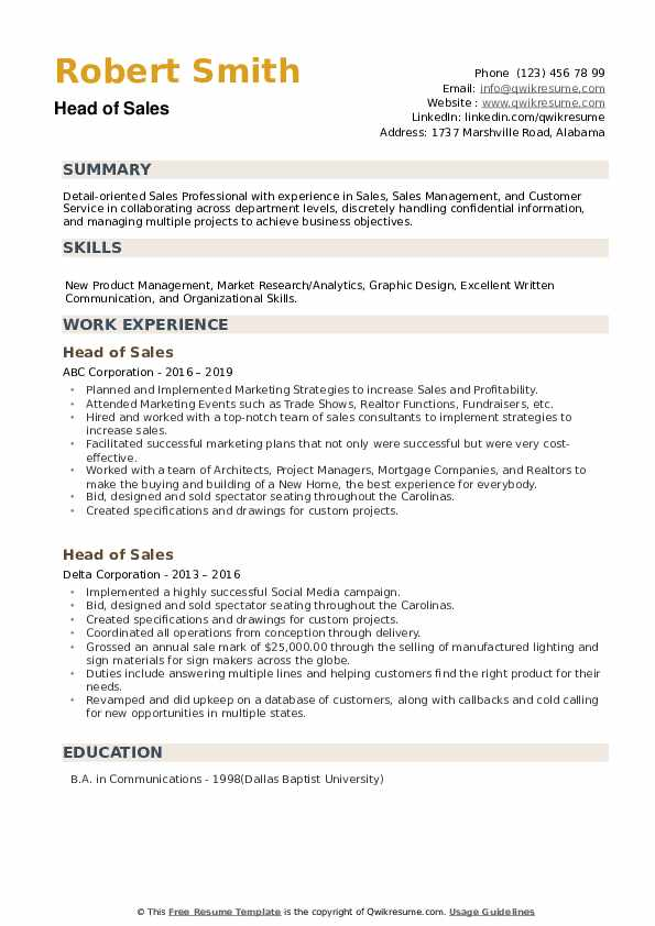 Head of Sales Resume example