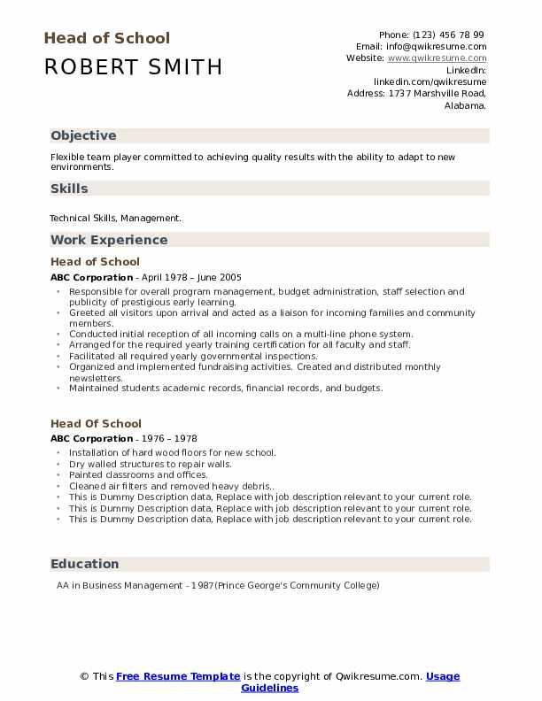 Head Of School Resume example