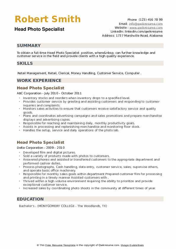 Head Photo Specialist Resume example