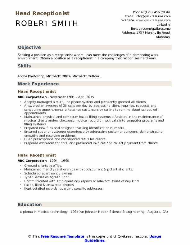 Head Receptionist Resume Model