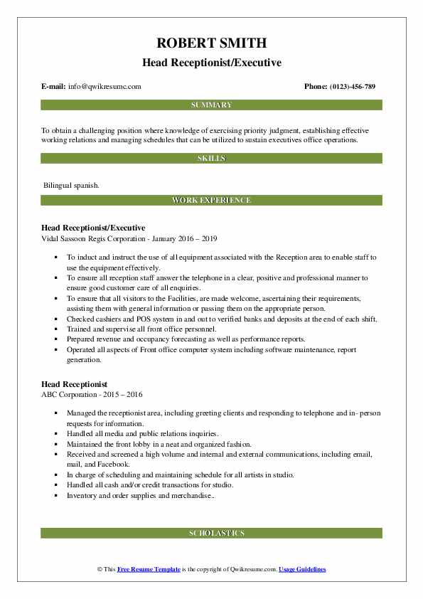 Head Receptionist/Executive Resume Example