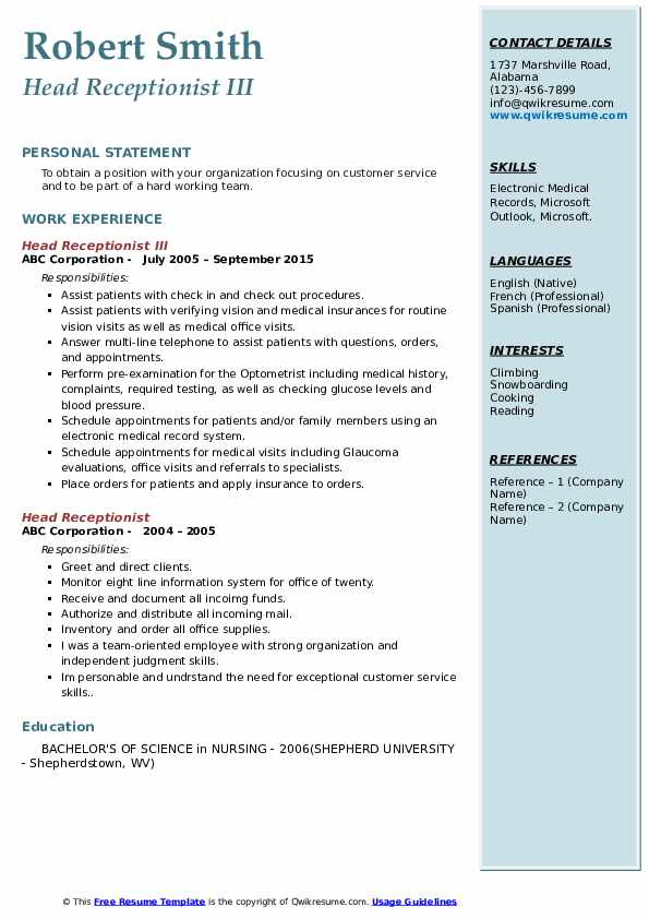 Head Receptionist III Resume Sample