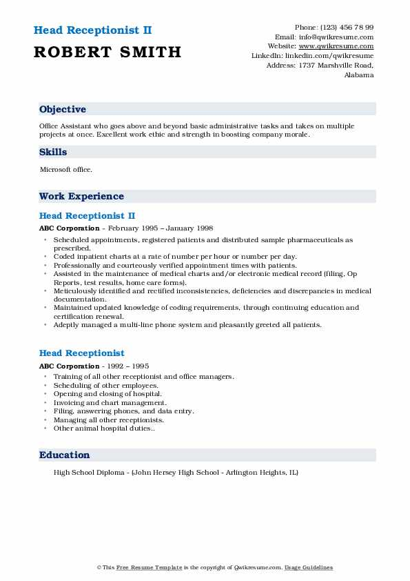 Head Receptionist II Resume Sample