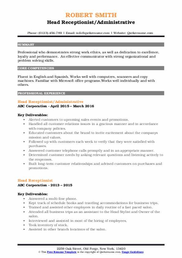 Head Receptionist/Administrative Resume Sample