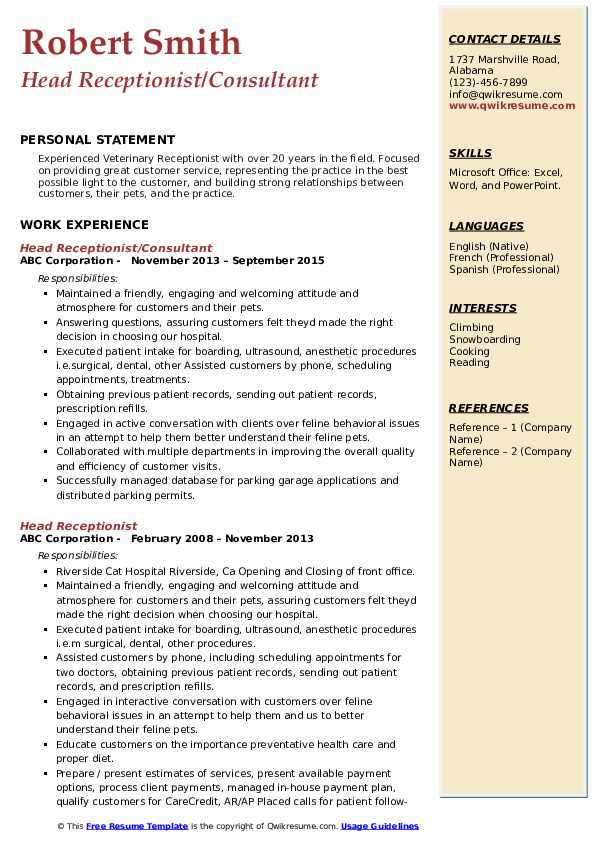Head Receptionist/Consultant Resume Example