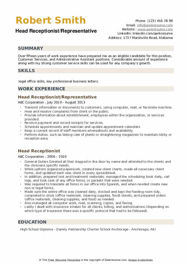 Head Receptionist/Representative Resume Model