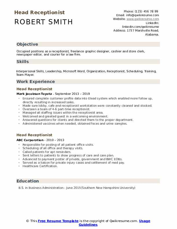 Head Receptionist Resume example