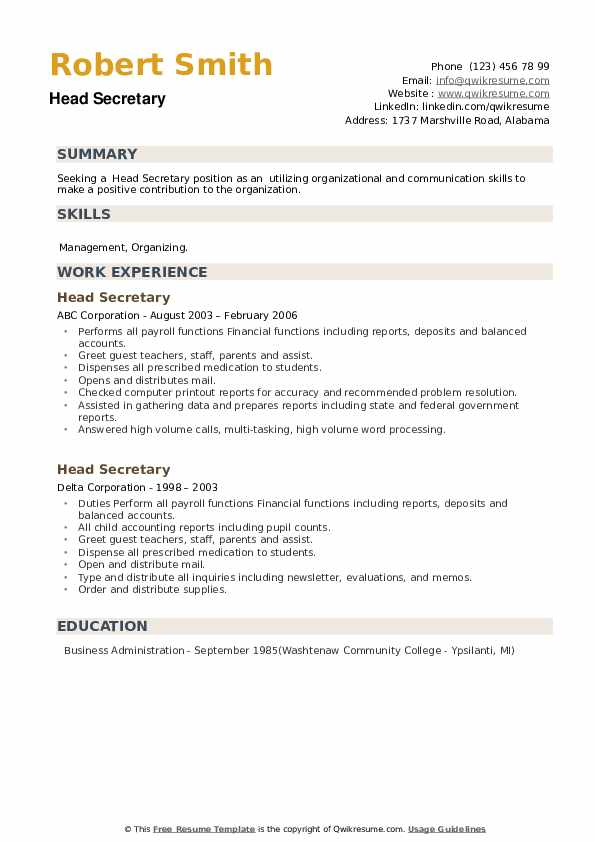 Head Secretary Resume example