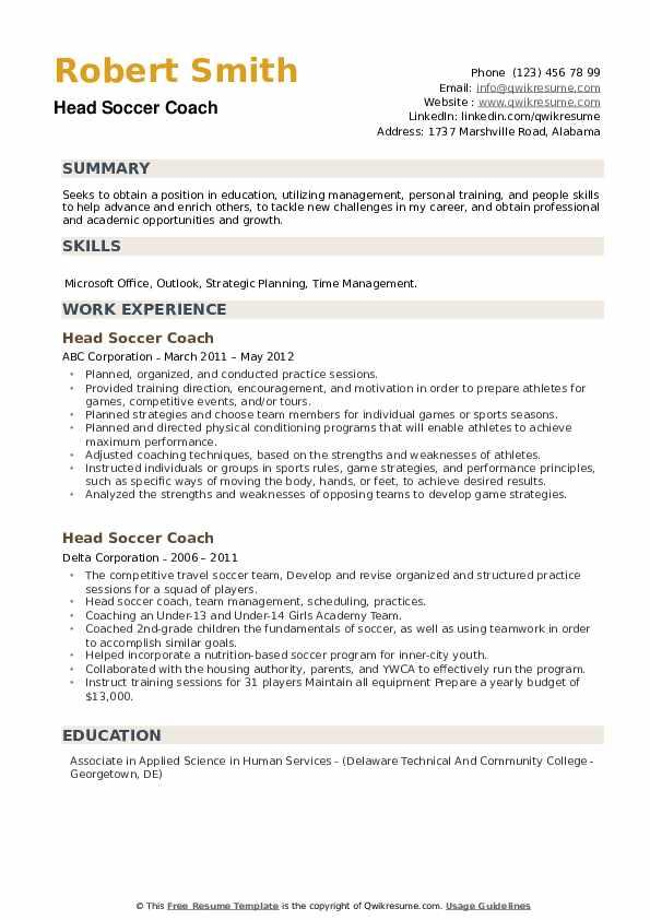 Head Soccer Coach Resume example
