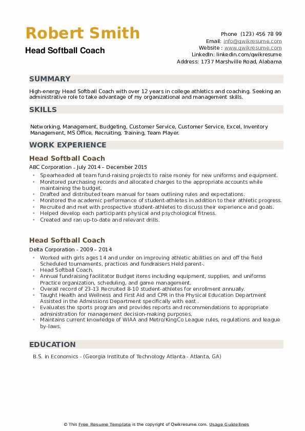 Head Softball Coach Resume example