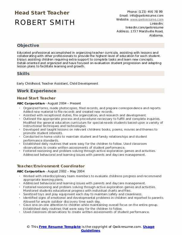 Head Start Teacher  Resume Format