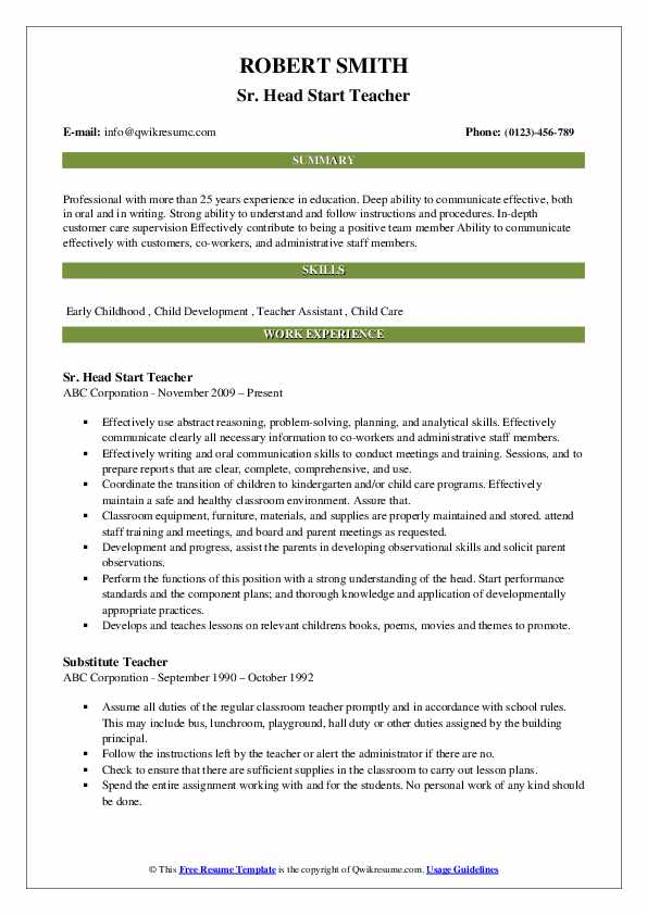 head start teacher resume samples