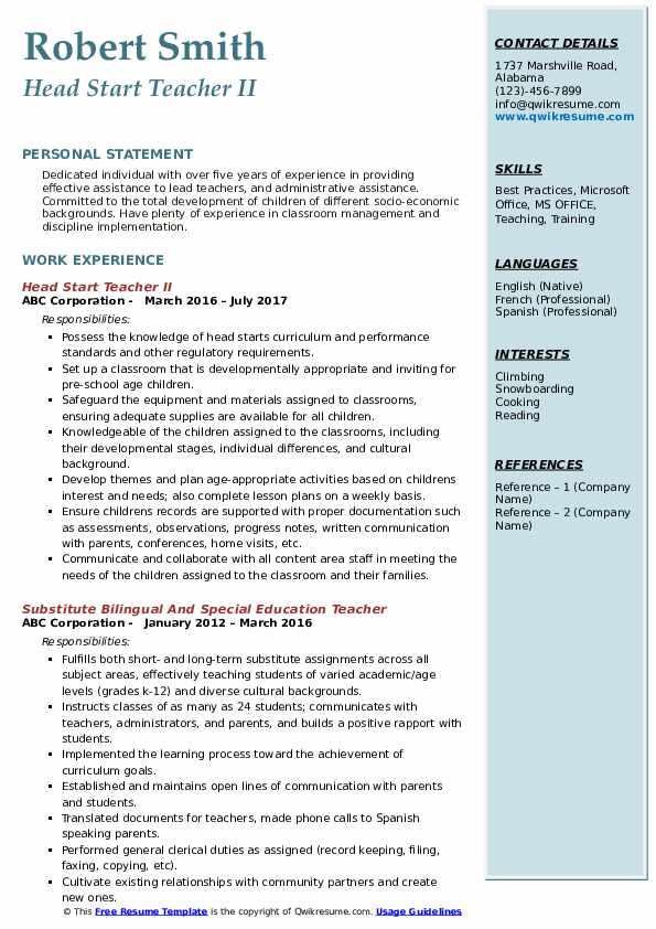 Head Start Teacher II Resume Model