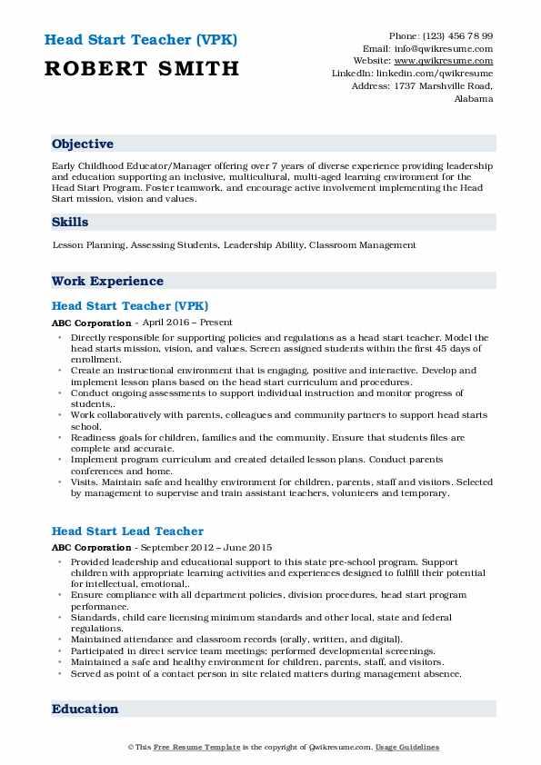 Head Start Teacher (VPK) Resume Model