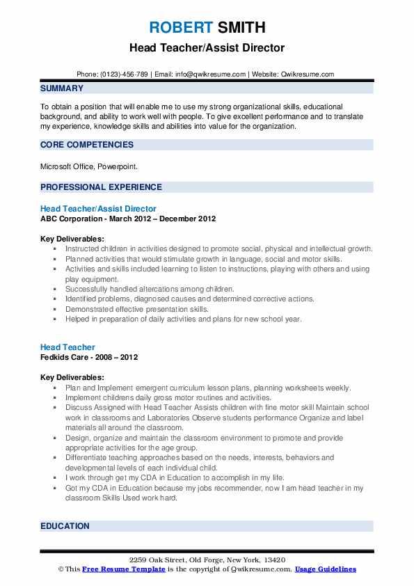 Head Teacher/Assist Director Resume Example