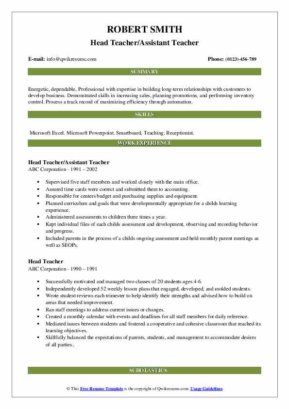 Head Teacher/Assistant Teacher Resume Example