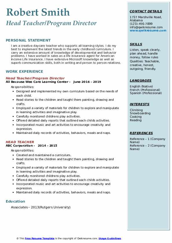 Head Teacher/Program Director Resume Example