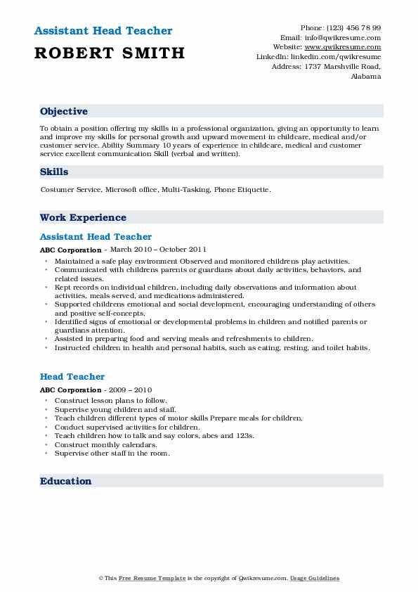 Assistant Head Teacher Resume Sample