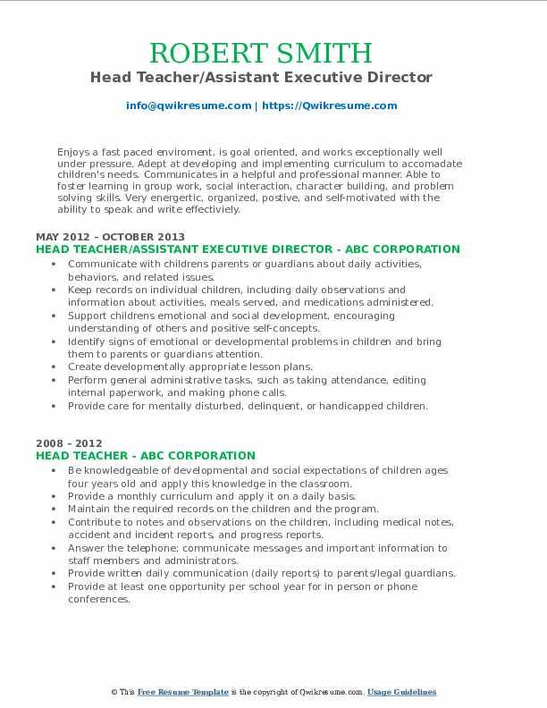 Head Teacher/Assistant Executive Director Resume Model