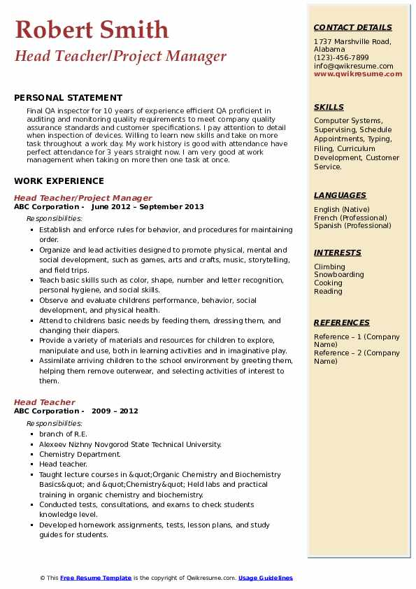 Head Teacher/Project Manager Resume Sample