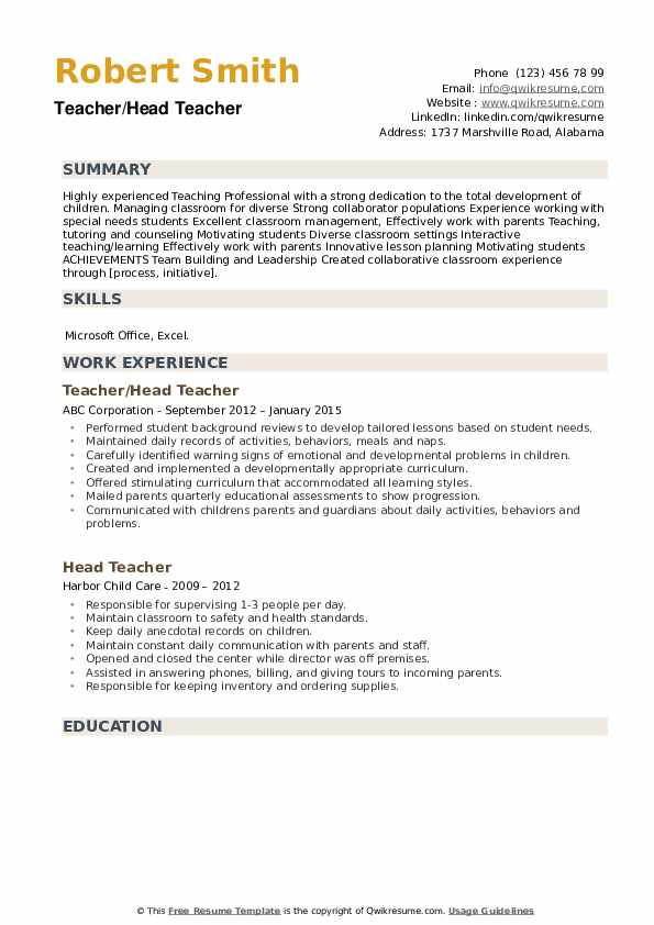 head teacher resume samples