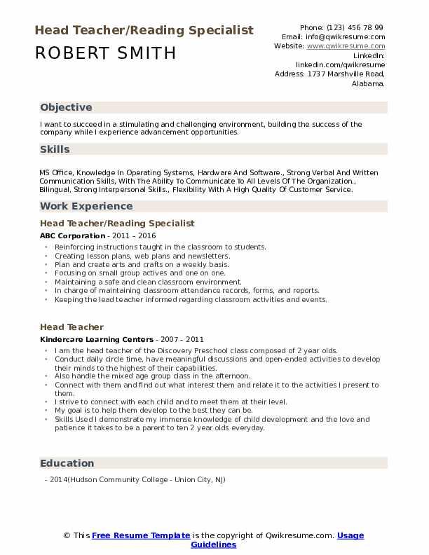 Head Teacher/Reading Specialist Resume Example