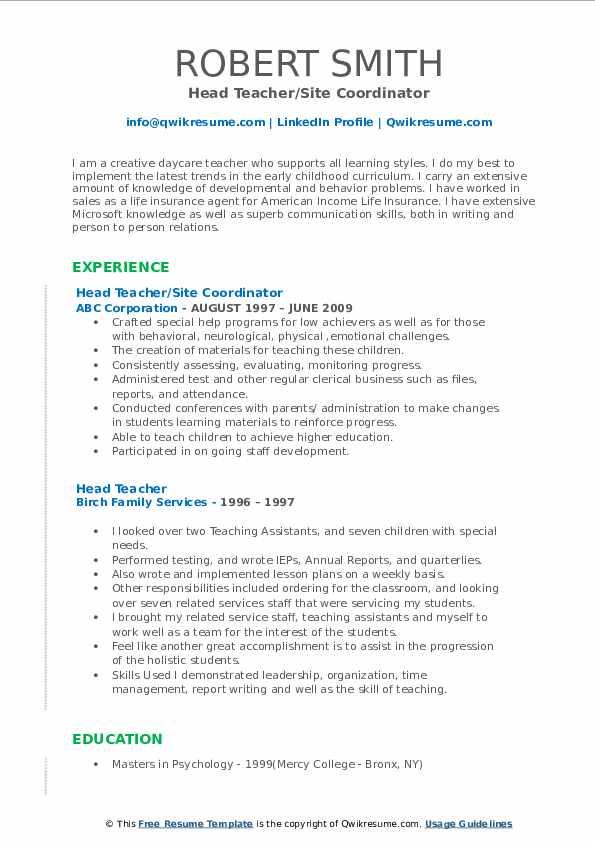 Head Teacher/Site Coordinator Resume Format