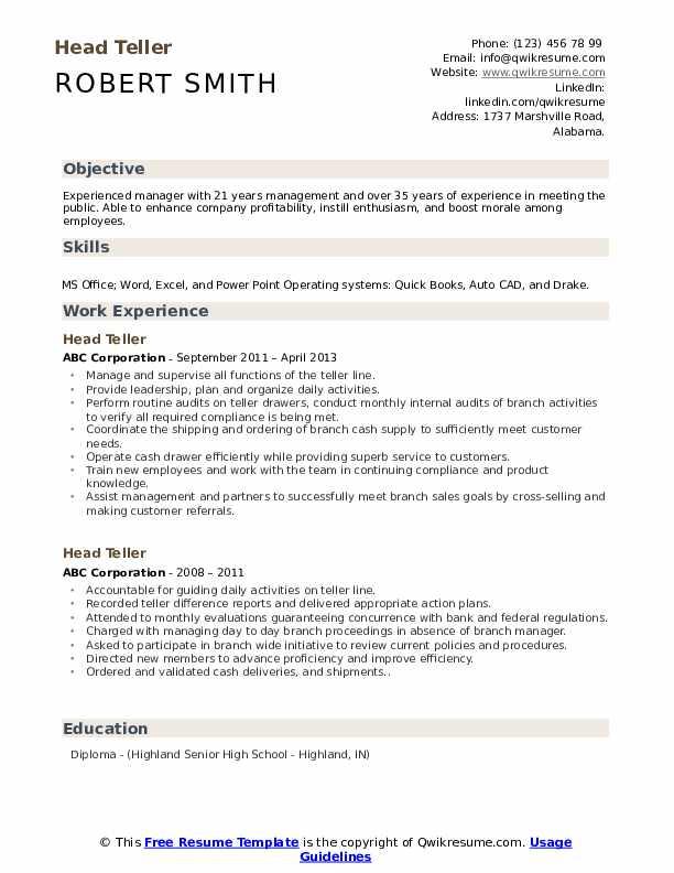 Head Teller Resume Sample
