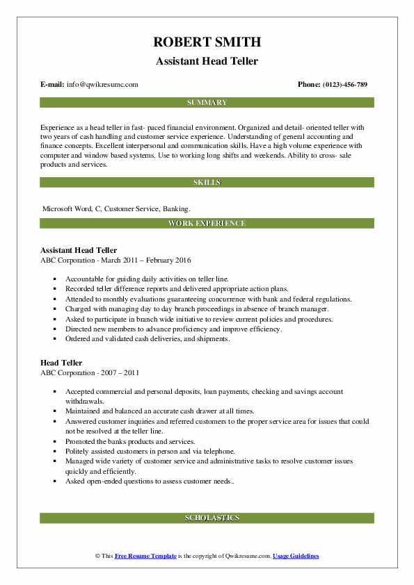 Assistant Head Teller Resume Example