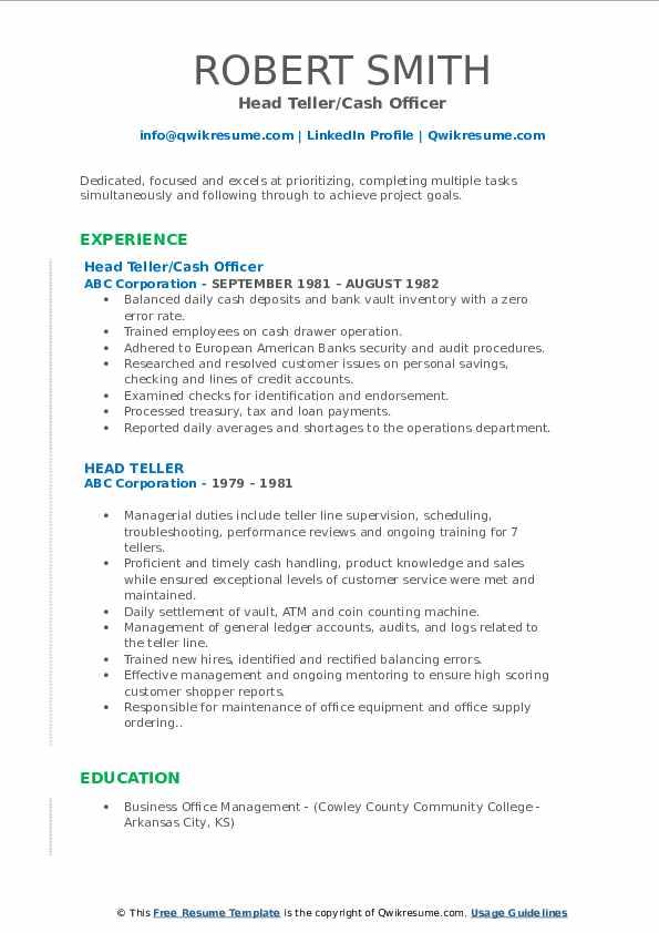 Head Teller/Cash Officer Resume Format