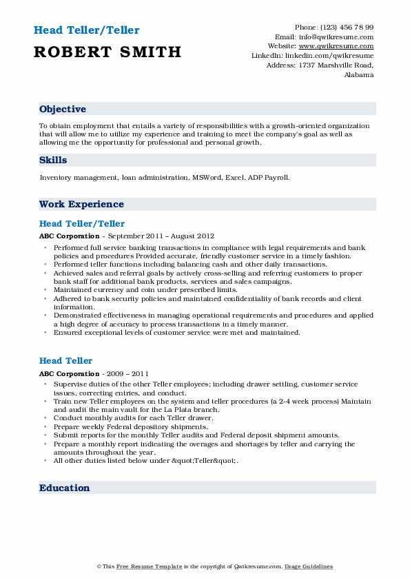 Head Teller/Teller Resume Format