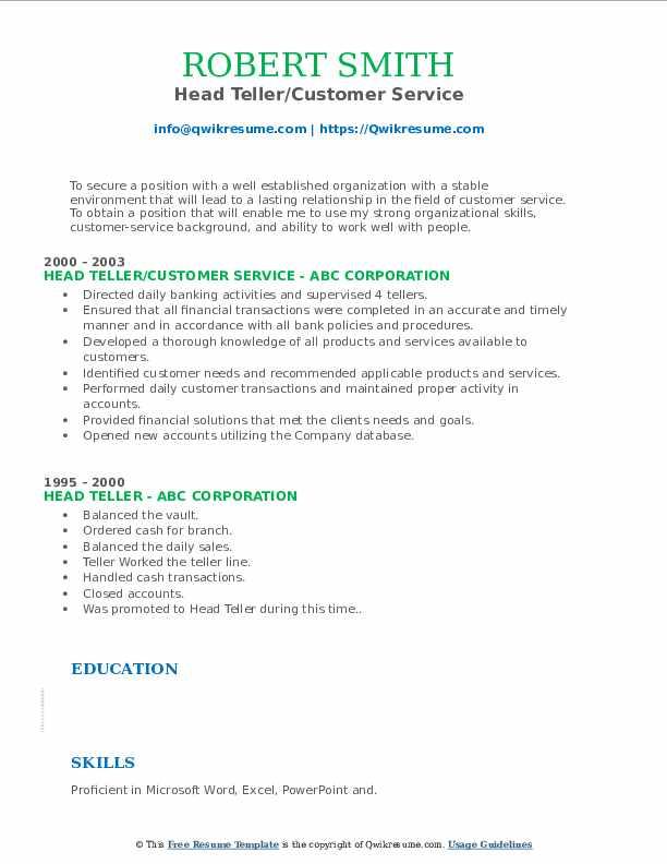 Head Teller/Customer Service Resume Example