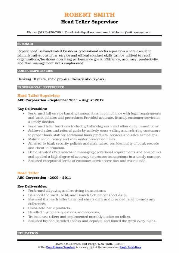 head teller resume samples