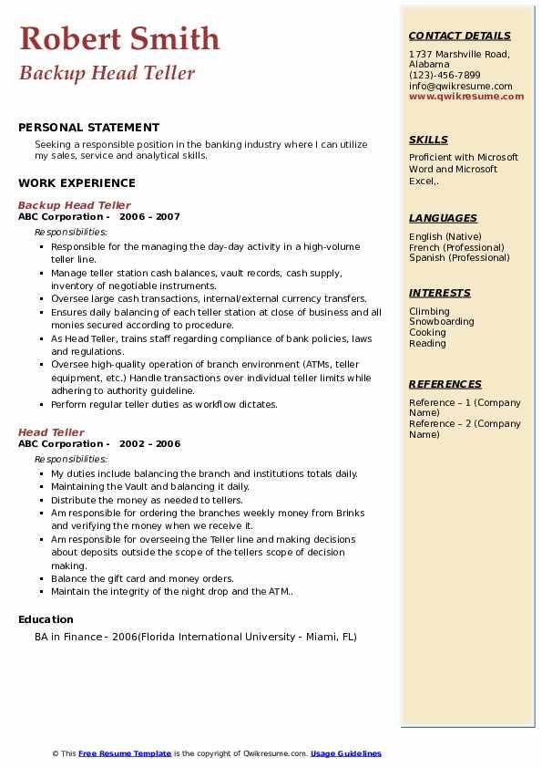 Backup Head Teller Resume Model