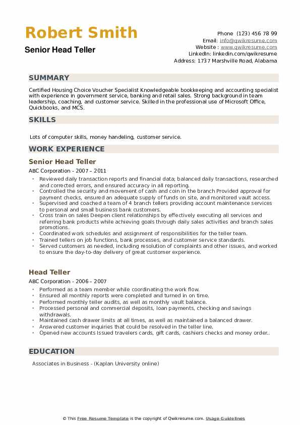 Senior Head Teller Resume Format
