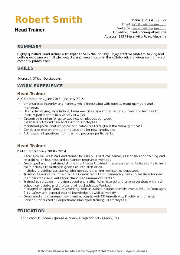 Head Trainer Resume example