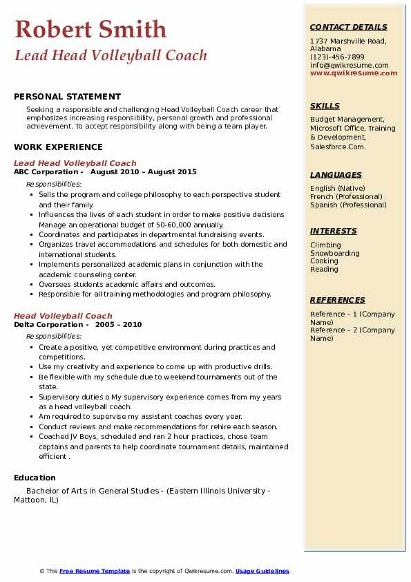 head volleyball coach resume samples  qwikresume