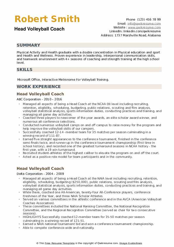 Head Volleyball Coach Resume example