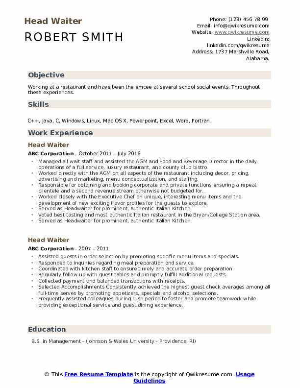 Head Waiter Resume Samples Qwikresume