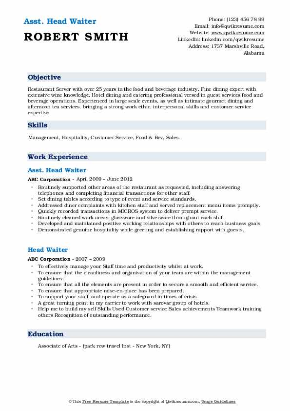 Restaurant head waiter resume sample suggested research paper alexander great