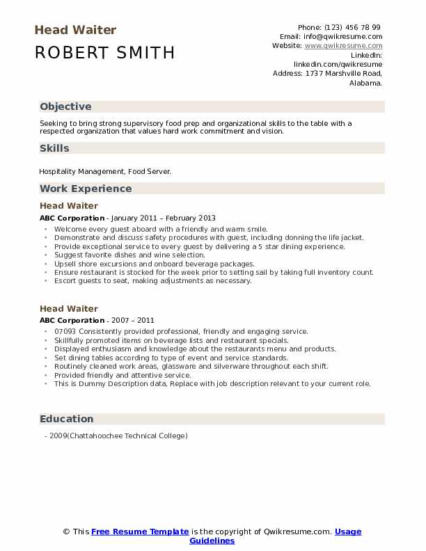 Head Waiter Resume example